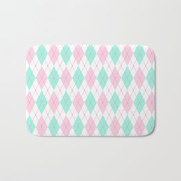 White Pink Green Pastel Argyle Pattern Bath Mat