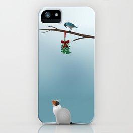 Cat,  Bird and Mistletoe  iPhone Case