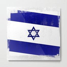 Israeli Distressed Halftone Denim Flag Metal Print