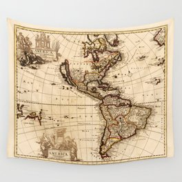 North and South America Map (1709) Wall Tapestry
