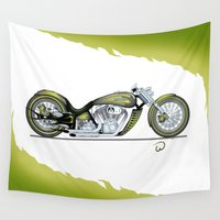 motorcycle Wall Tapestries featuring Green Motorcycle by wadegrafx