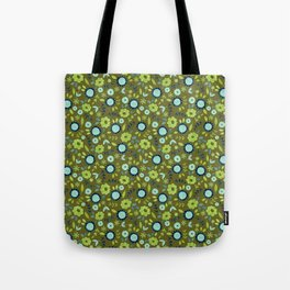 Apple green and dark blue flower-pattern on olive background Tote Bag