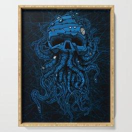 blue kraken skull Serving Tray