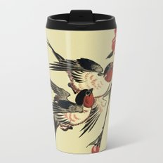 Moon Swallows and Peach Blossoms Metal Travel Mug