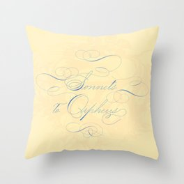 Sonnets to Orpheus Calligraphy Apricot Pastel Throw Pillow