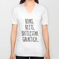 battlestar galactica V-neck T-shirts featuring The Office Quote // Bears. Beets. Battlestar Galactica. by Hannah Phillips Media