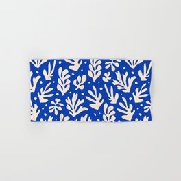 matisse pattern with leaves in blu Hand & Bath Towel