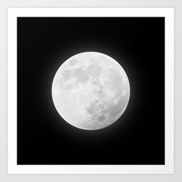 CHALK WHITE MOON Art Print