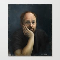 louis ck Canvas Prints featuring Louis CK by Pavel Sokov