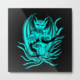 Midnight Dream , Black and Green Design Metal Print