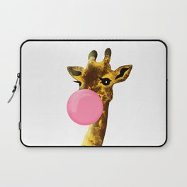 Cute giraffe with chewing gum Laptop Sleeve