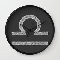 libra Wall Clocks featuring Libra by David Zydd