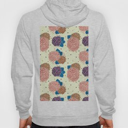 Watercolor coral brown blue hand painted floral polka dots Hoody