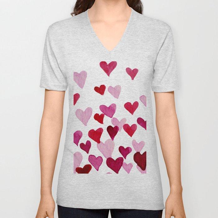 Valentine's Day Watercolor Hearts - pink Unisex V-Ausschnitt