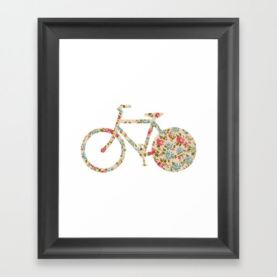 Whimsical cute girly floral retro bicycle Framed Art Print