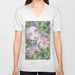 Watercolor doll in the water Unisex V-Neck