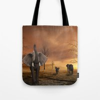 elephants Tote Bags featuring Elephants by Susann Mielke