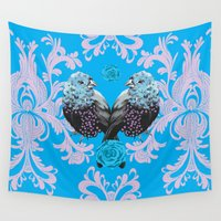 damask Wall Tapestries featuring Bird Damask by Rebel June