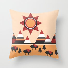 Sun, mountains and buffaloes - native Indian style landscape Throw Pillow