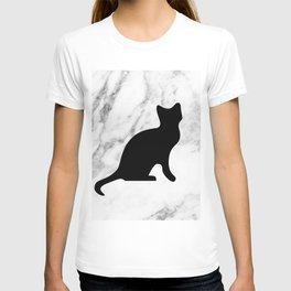 Marble black cat T-shirt