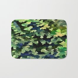 Foliage Abstract Pop Art In Green and Blue Bath Mat