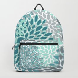 Festive, Modern, Floral Prints, Teal and Gray Backpack