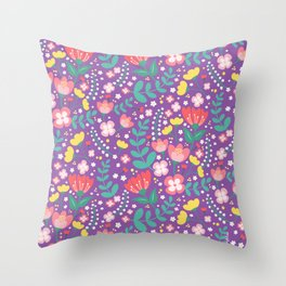Flower lovers - Purple Throw Pillow