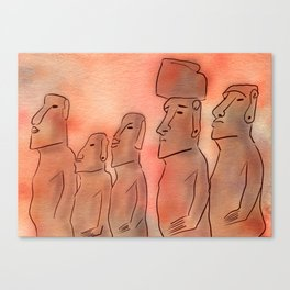 Moai statues watercolor Canvas Print