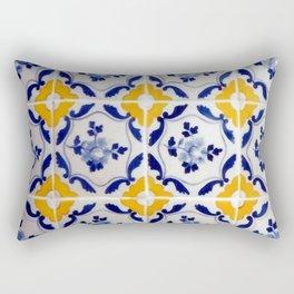 Blue and yellow tile Rectangular Pillow