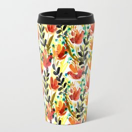 Warm Wildflowers Pattern Travel Mug