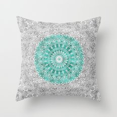 New Vintage Floral Mandala Aqua Green Throw Pillow