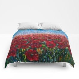 Poppy Field Palette Knife Painting By OLena Art Comforters