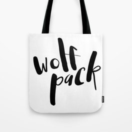 Wolf Pack Typography Tote Bag