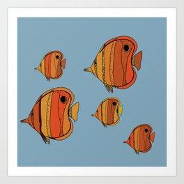 Orange Butterfly Fish Art Print