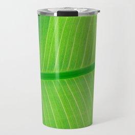 Close Up Of Green Banana Leaf Lime Green Tropical Leaf Travel Mug