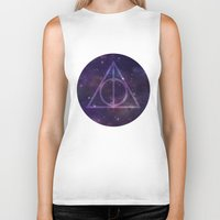 deathly hallows Biker Tanks featuring Deathly Hallows in Space by Hannah Ison