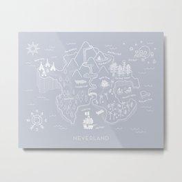 Neverland Map - Gray Metal Print