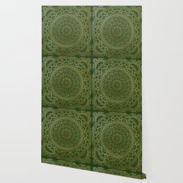 Mandala Royal - Green and Gold Wallpaper