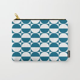 Mid Century Modern Half Circles Pattern Peacock Blue Carry-All Pouch