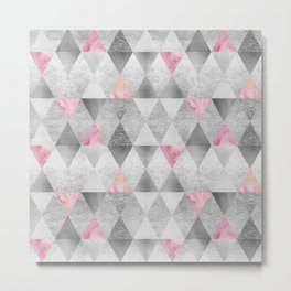 GRAPHIC PATTERN Sparkling triangles | silver & pink Metal Print