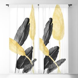 Bird of Paradise Plant Black, White and Gold 02 Blackout Curtain