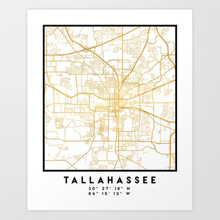 TALLAHASSEE FLORIDA CITY STREET MAP ART Art Print