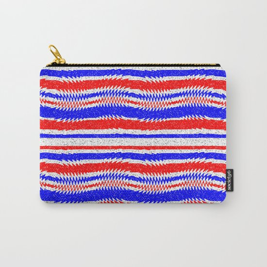 Red White Blue Waving Lines Carry-All Pouch