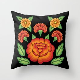 Mexican Folk Pattern – Tehuantepec Huipil flower embroidery Throw Pillow