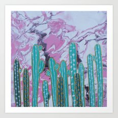 Pink Cactus with Gold Outline Art Print