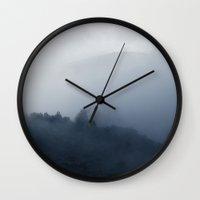 fog Wall Clocks featuring Fog by Mertxe Alarcon