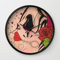 gypsy Wall Clocks featuring Gypsy by Dioni Pinilla