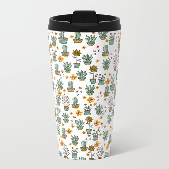Floral Sunshines Metal Travel Mug