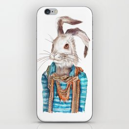 Hare hipster (male) iPhone Skin