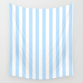Classic Seersucker Stripes in Blue + White Wall Tapestry